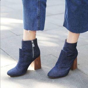 Zara Denim High Heel Ankle Booties Size 7.5